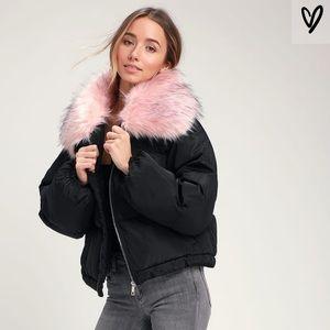 NWT Lulu's Pink & Black Faux Fur Puffer Jacket